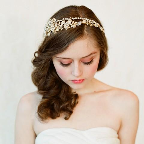 Bridal crystal pearl and bead headband Double band by myrakim