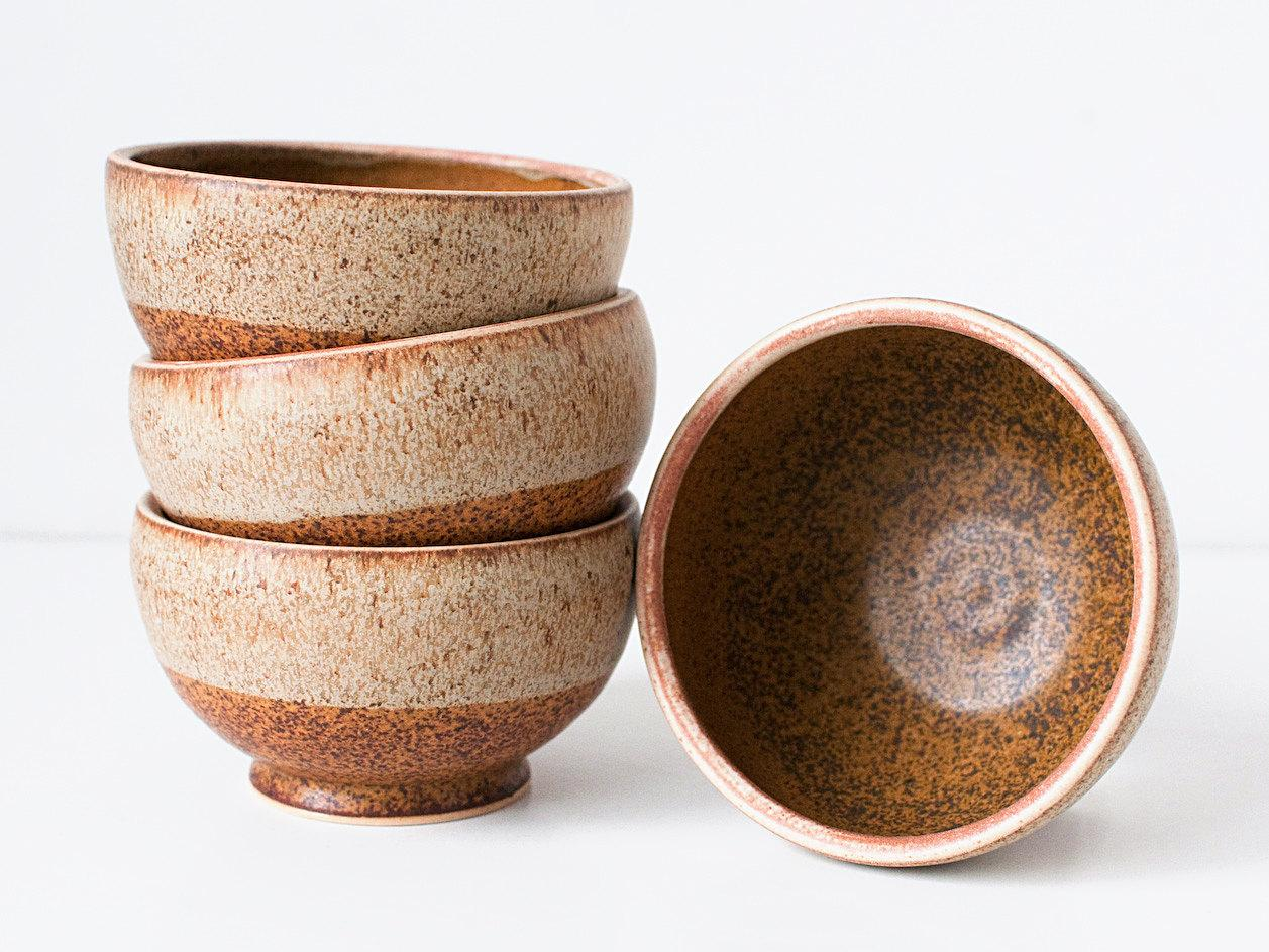 Set of Four Stoneware Bowls Speckled Cream and Rusted by DiTerra