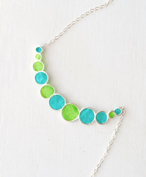 Lime Green Turquoise Blue Bubble Necklace in by TaylorsEclectic