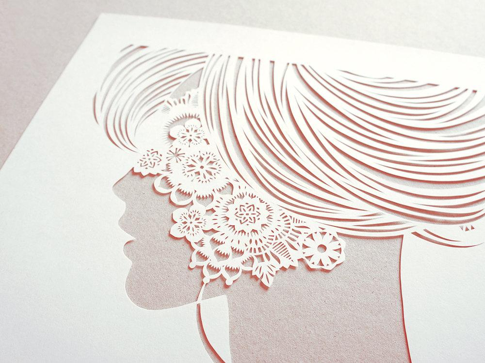 Lace papercut silhouette handcut white papercut by Papercutout