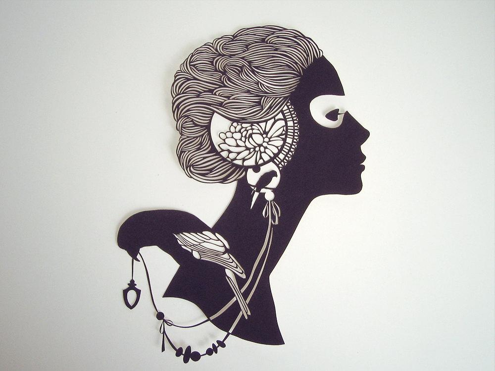 Girl with a bird handcut paper silhouette 95 x 63 by Papercutout
