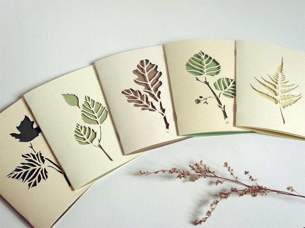 Botanical papercut greetings cards set of 5 by Papercutout