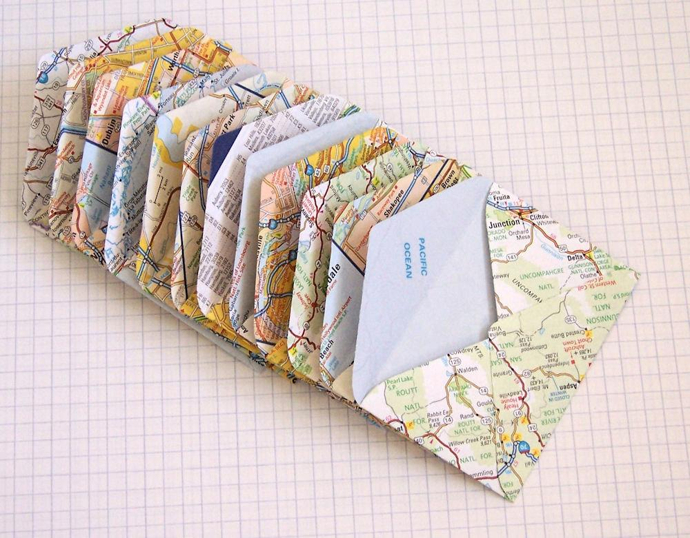 Upcycled US Map Mini Envelopes Set of 12 by CreateLovely on Etsy