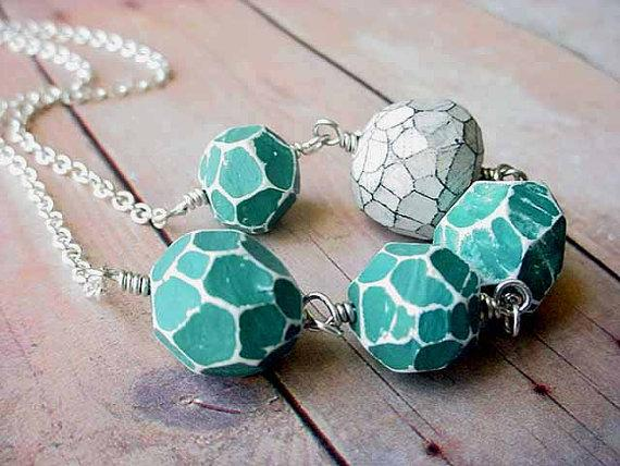 Turquoise and White Necklace Geometric Faceted by MySelvagedLife