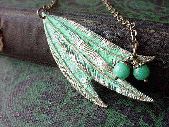 Willow Leaf Necklace Verdigris Green Patina by MySelvagedLife