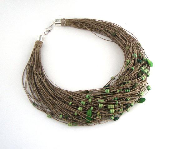 Green beaded multristrand necklace linen hemp by dekkoline on Etsy