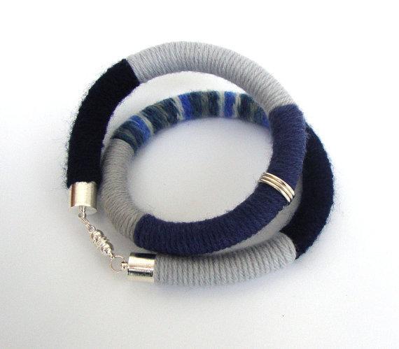 Wrapped textile modern necklace eco fashion tribal by dekkoline