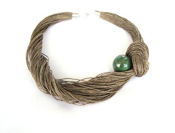 Organic linen necklace ceramic necklace eco style bib by dekkoline