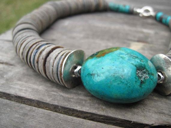Huge Turquoise Necklace Asymmetrical Statement by DreamsFactory