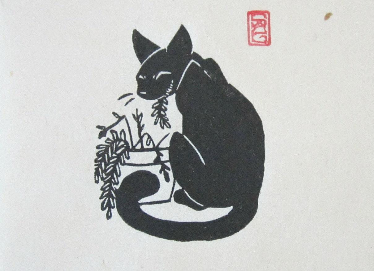 Black Cat Salad Bar Lino Block Print by OniOniOniArt on Etsy