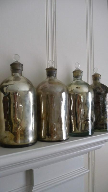 Mercury Glass Bottles by LBInteriors on Etsy