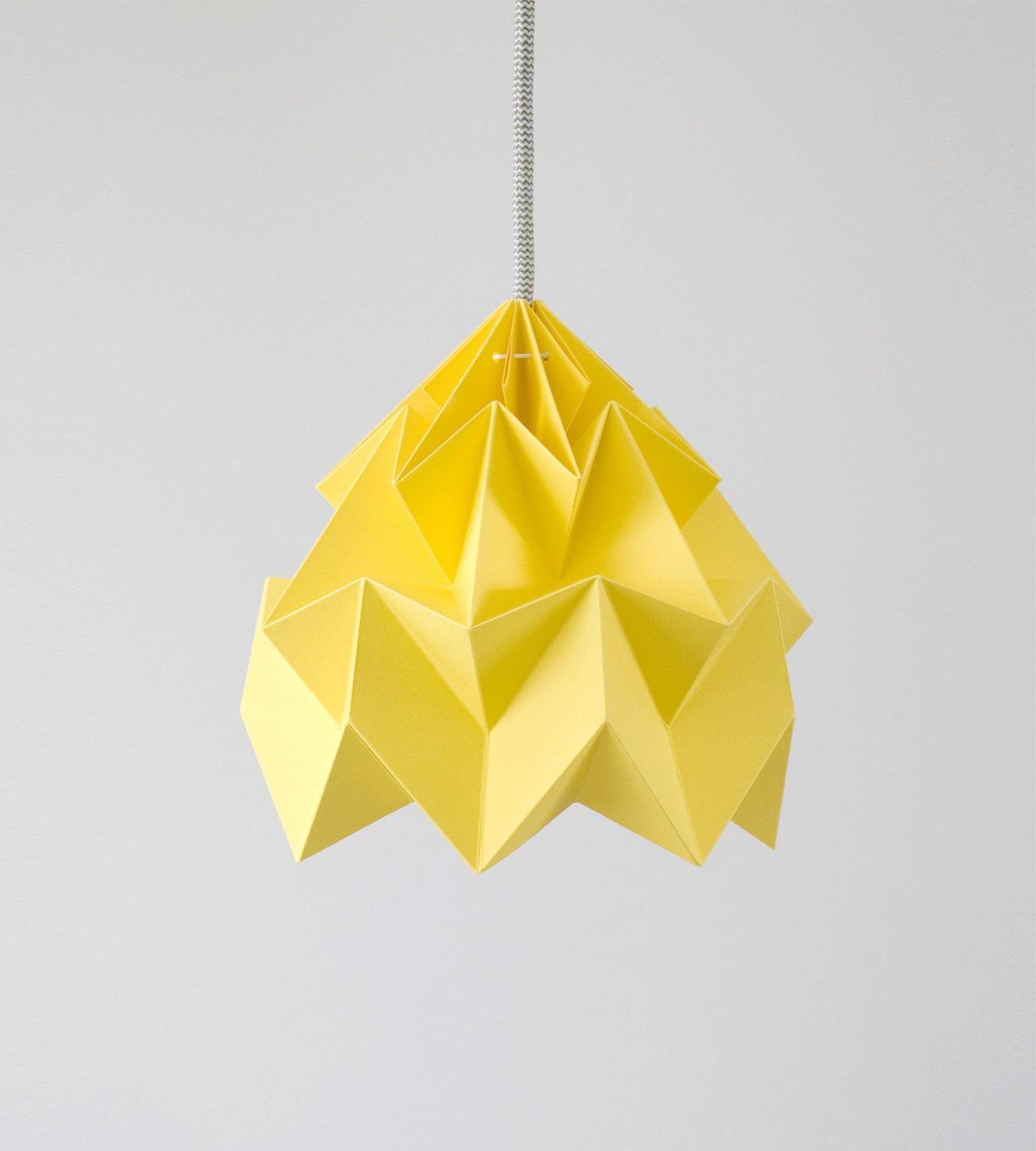 Moth origami lampshade autumn yellow by nellianna on Etsy