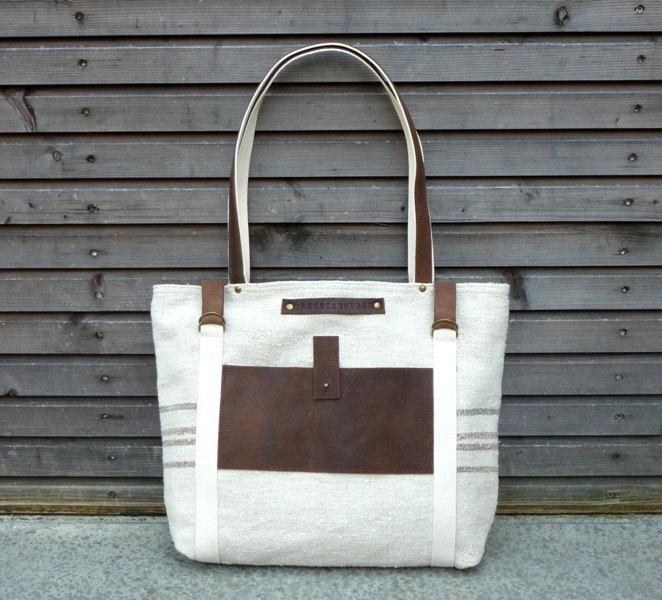 recycled antique linen carry all/tote bag/beach by treesizeverse