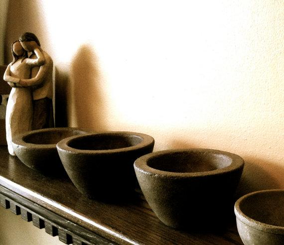 2 Small Concrete Coffee Chestnut Bowls by BungalowStreet on Etsy