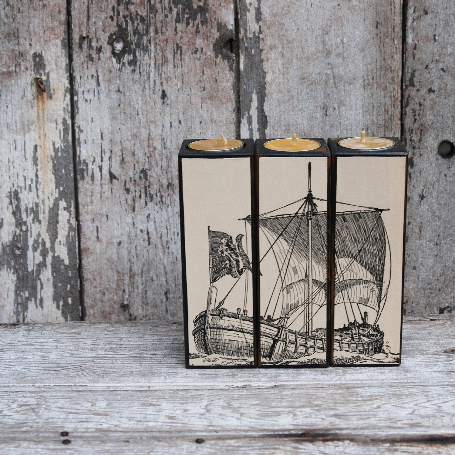 Candleblock Set Black Milkpaint Ship by PegandAwl on Etsy