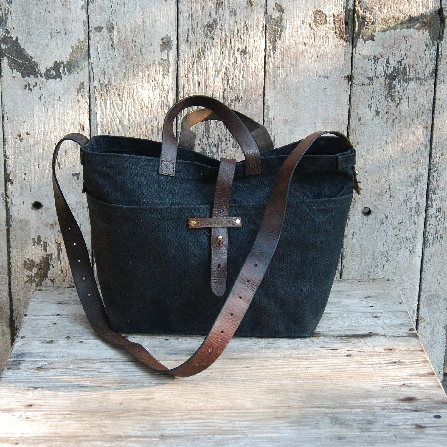 Waxed Canvas Tote Coal antique military leather by PegandAwl