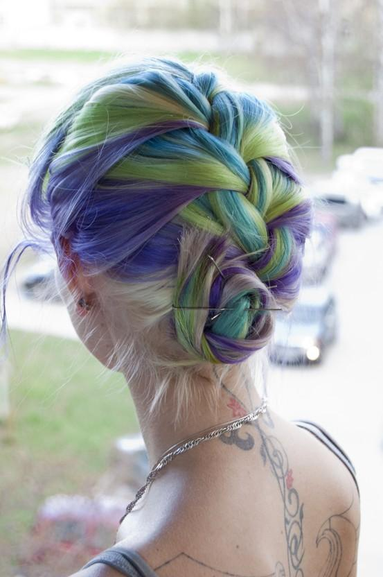 a rainbow of hair / Green, blue, purple