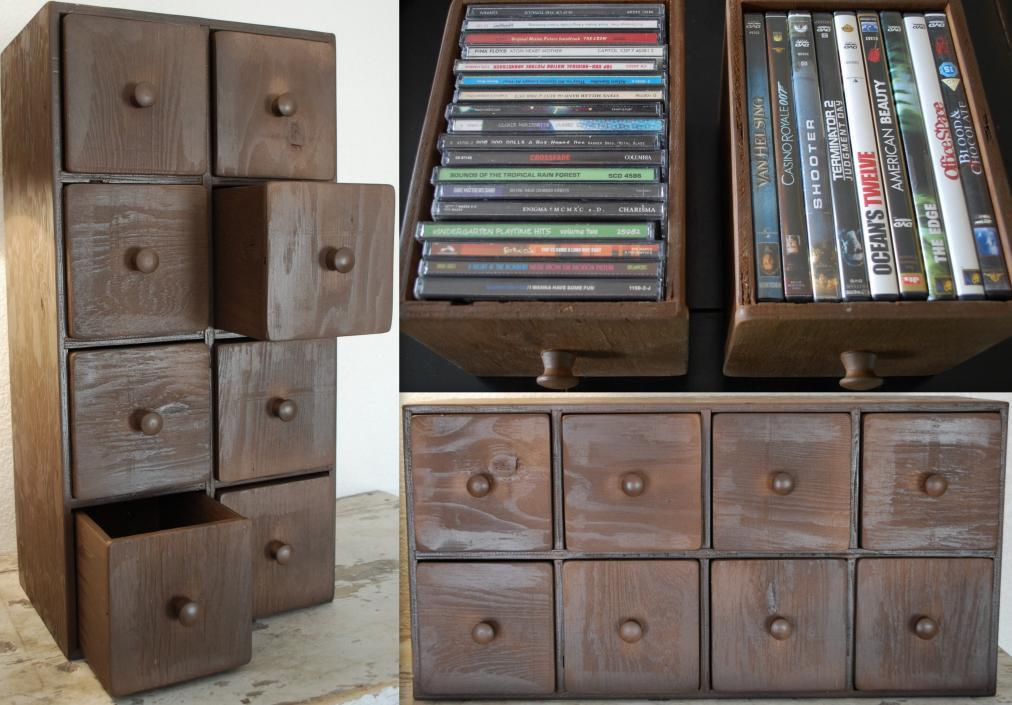 CD DVD Apothecary Cabinet Storage Chest by redroosterbab on Etsy