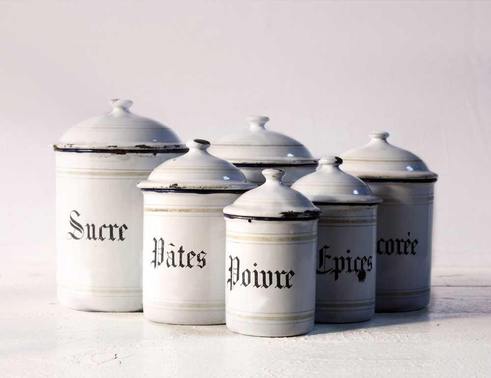 Beautiful French set of six WHITE enamel by RueDesLouves on Etsy