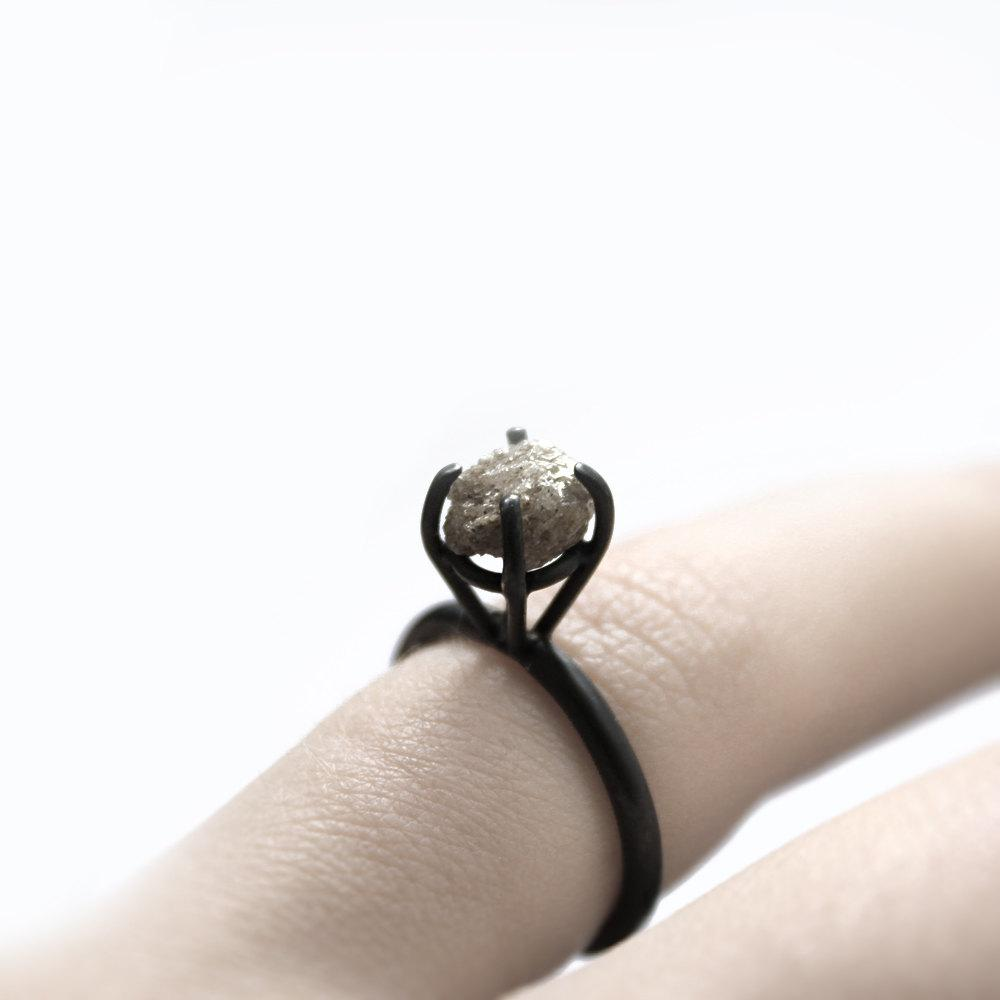 RESERVED Eye II rough diamond oxidized sterling by andrea0503