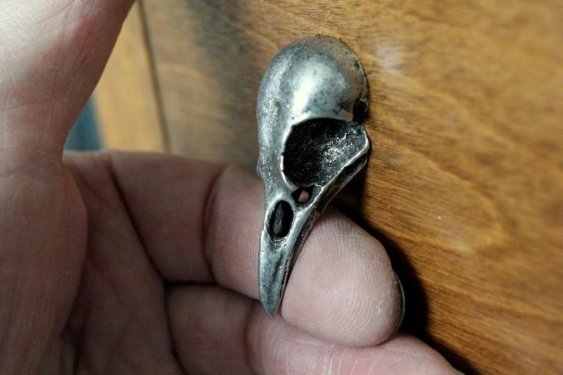 Aged Metal Bird Skull Cabinet Knob Drawer Pull Hardware by mrd74