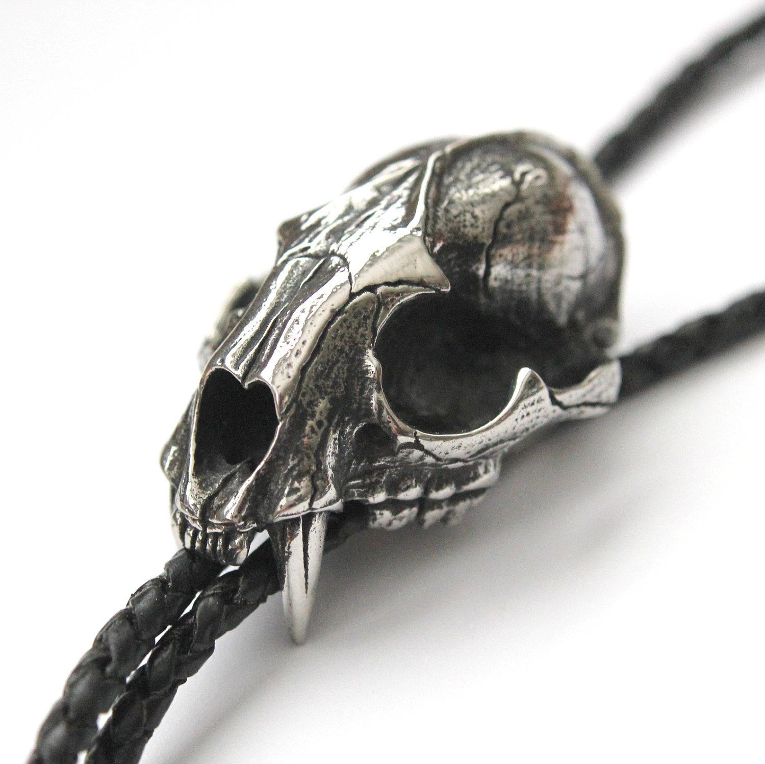 Silver Wild Cat Skull Bolo Tie on Genuine Black Braided by mrd74