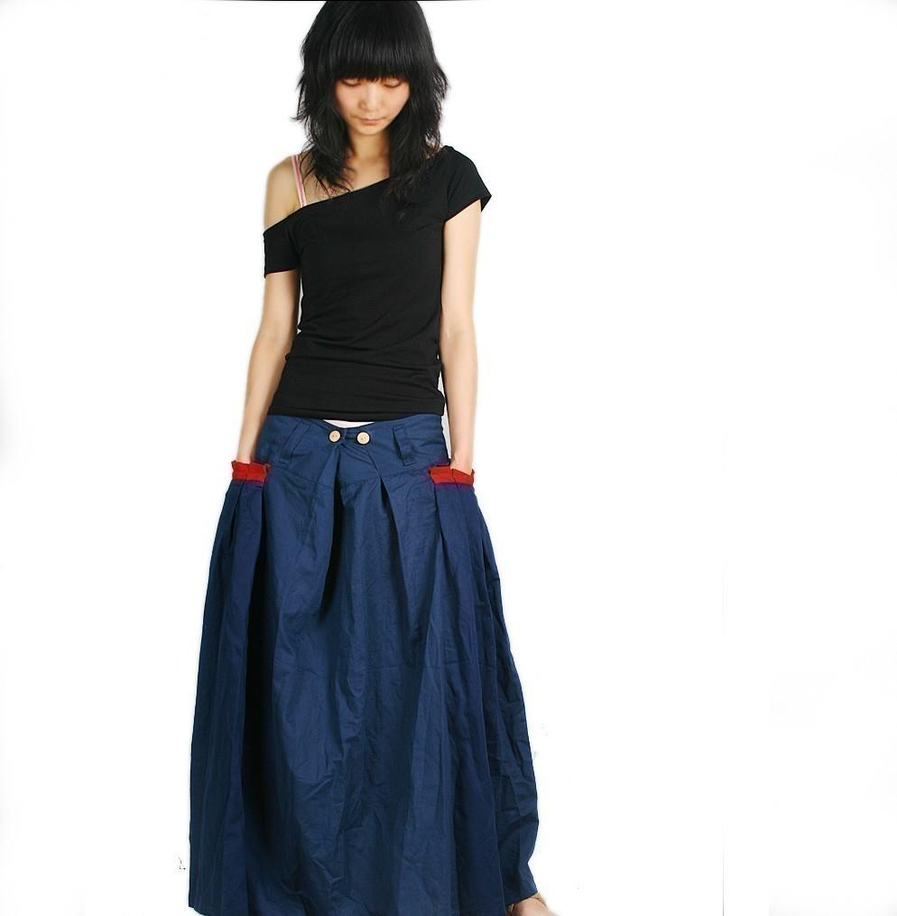 Red Pocket Long Skirt in black Q1001 by idea2lifestyle on Etsy