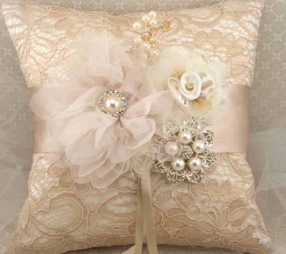Ring Bearer Pillow Bridal Pillow in Champagne Nude by SolBijou