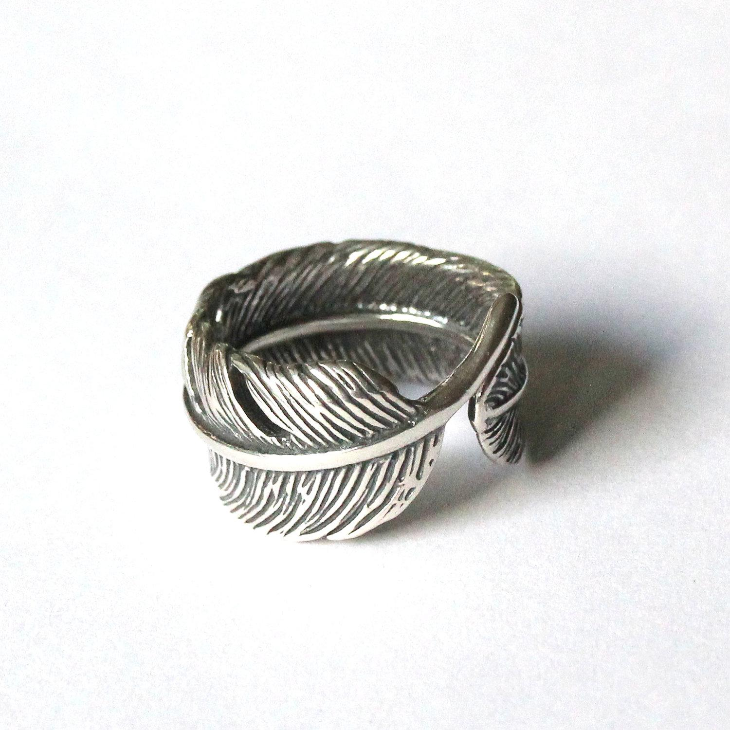 Raven Feather Bypass Ring cast in Solid Sterling Silver by mrd74