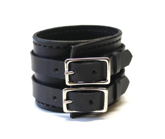 Black Leather Cuff Bracelet Adjustable with by BirdhouseDesigns