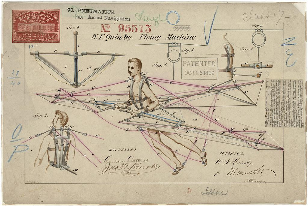 Patent Drawing for a Flying Machine, 10/05/1869 - 10/05/1869 | Flickr - Photo Sharing!