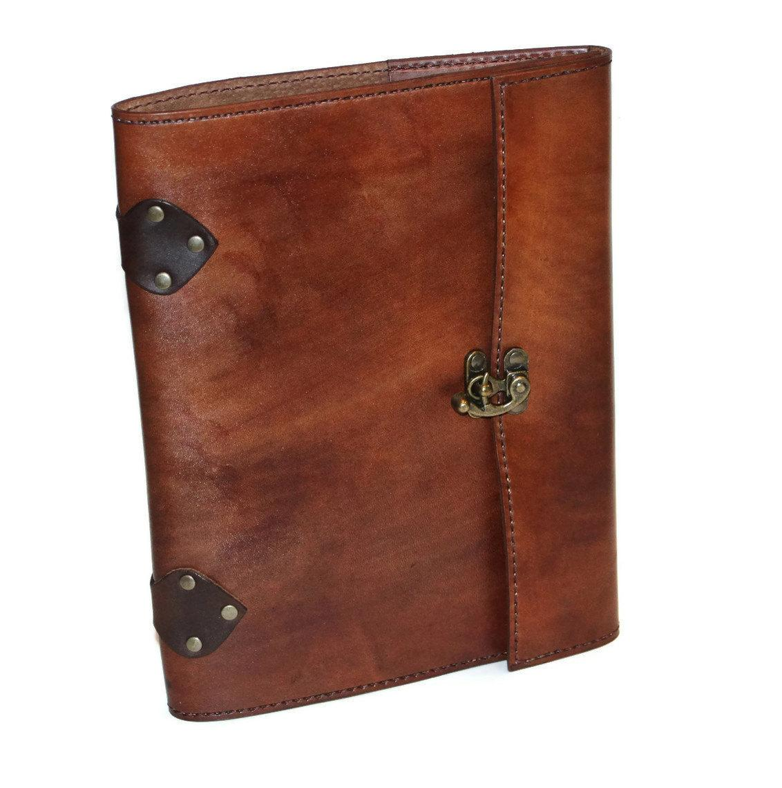 Distressed Brown Steampunk Leather Notebook by BirdhouseDesigns