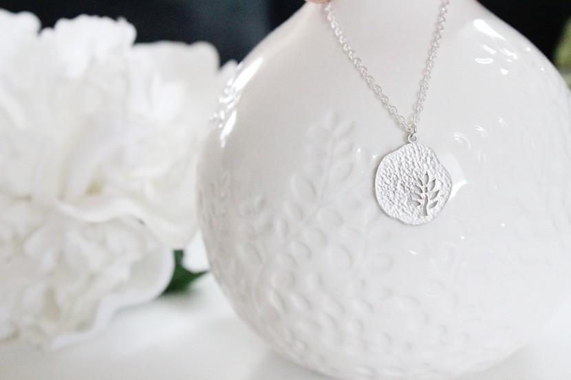Tiny Tree Circle Pendant Sterling Silver Necklace by junghwa
