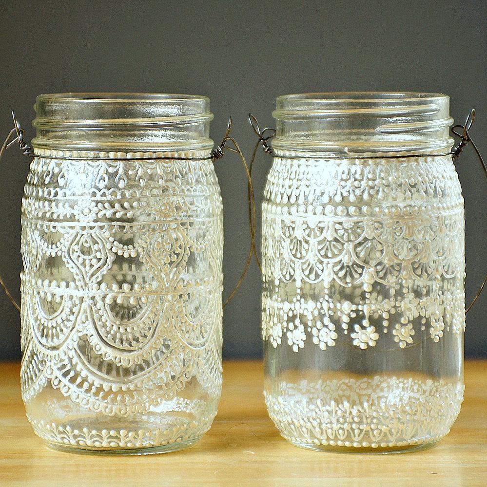 Hand Painted Mason Jar Moroccan Lantern Lace Design by LITdecor