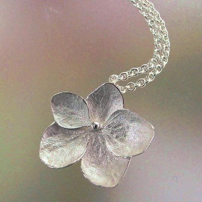 Hydrangea Flower Necklace Sterling Silver by PatrickIrlaJewelry