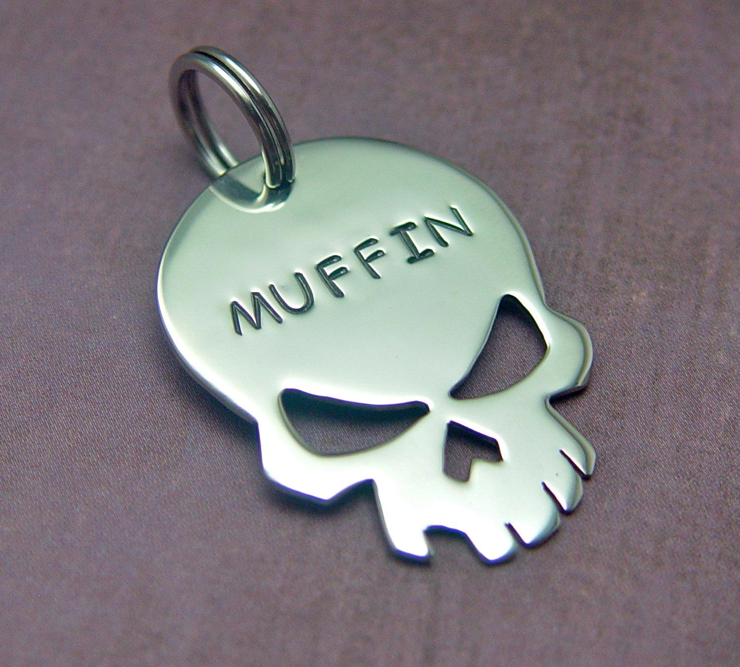 custom dog tag The Skull by oDDDogcreations on Etsy