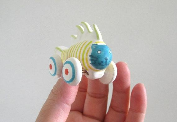 Rolling Blue Cat Fish miniature ceramic sculpture by PearsonMaron