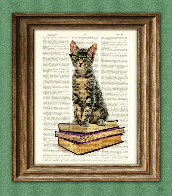 Book Cat in Cats Eye Glasses Early Reader Kitten by collageOrama