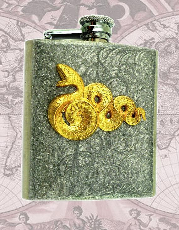 Metal Flask Steampunk Snake Neo Victorian by EdwardianRenaissance