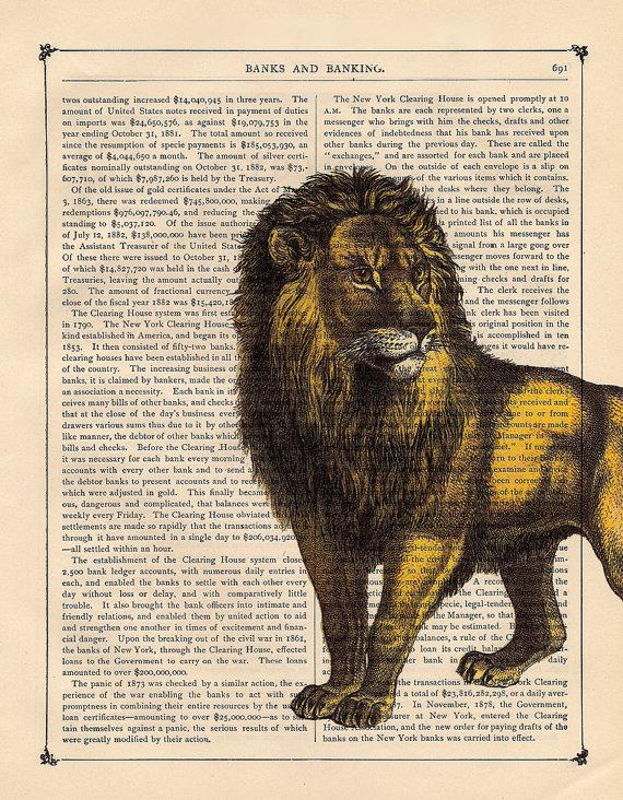 Art Print Lion Antique Book Page Artistic Book Art by BlackBaroque