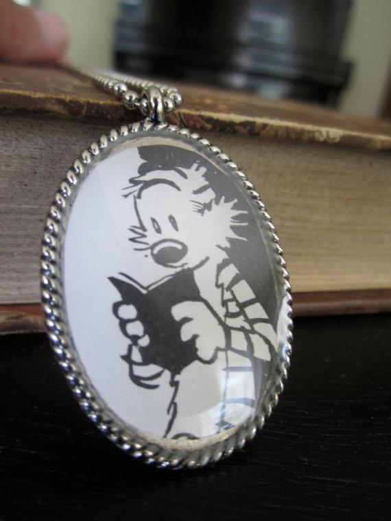 Calvin and Hobbes hobbes reading pendant by xtencioart on Etsy