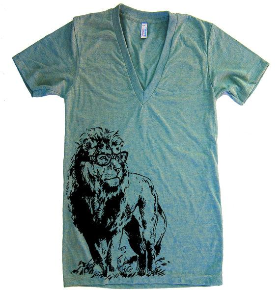 Unisex Lion Professor Deep V Neck T Shirt american by lastearth