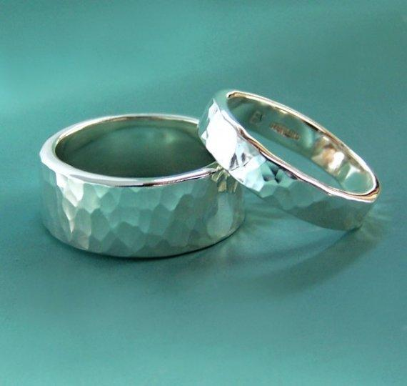 Sterling Silver Wedding Ring Set of Two Hand by esdesigns on Etsy