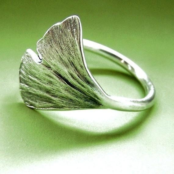 Ginkgo Leaf Ring Sterling Silver by esdesigns on Etsy