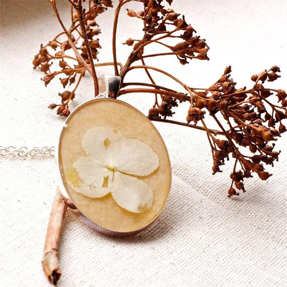 pressed flower necklace cream white distressed by StudioBotanica