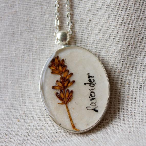pressed flower necklace lavender herb handmade by StudioBotanica