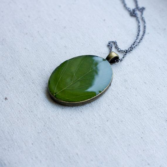 botanical jewelry real pressed green leaf by StudioBotanica