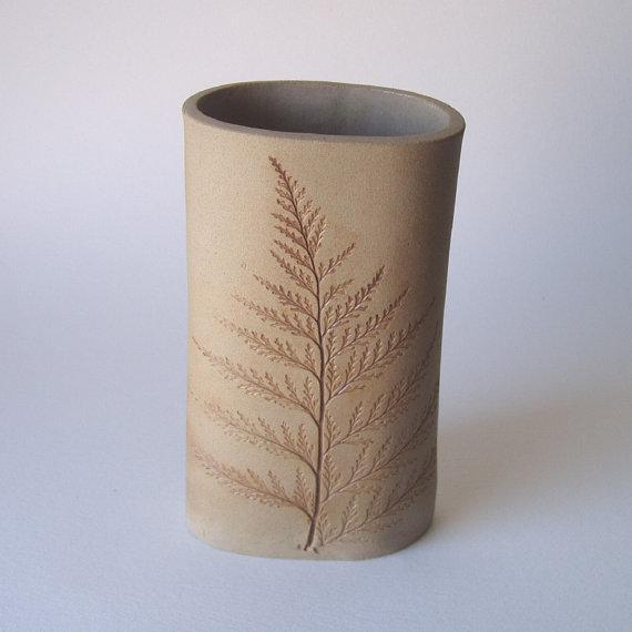 Fern Impression Vase Handmade Pottery by KensGardenPottery on Etsy