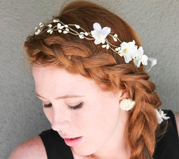 wedding hair Rustic bridal wreath with ribbon by BeSomethingNew
