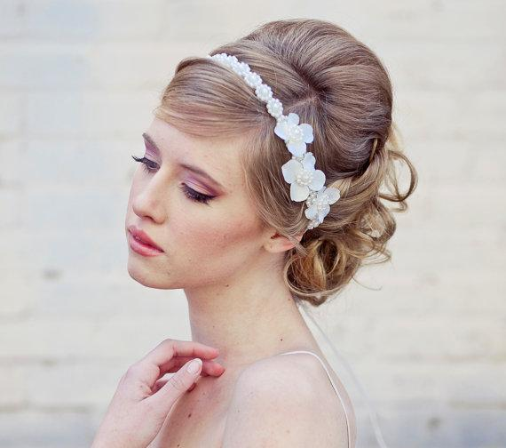 wedding hair Pearl tie headband for weddings by BeSomethingNew